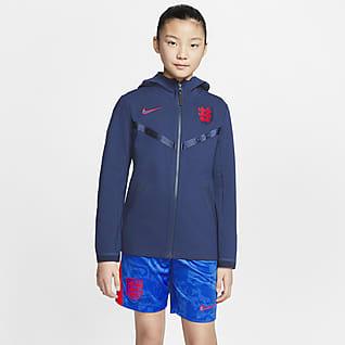 Anglia Tech Pack Piłkarska bluza z kapturem i zamkiem na całej długości dla dużych dzieci