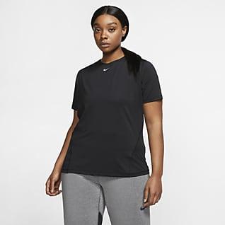 Nike Pro Женская сетчатая футболка (большие размеры)