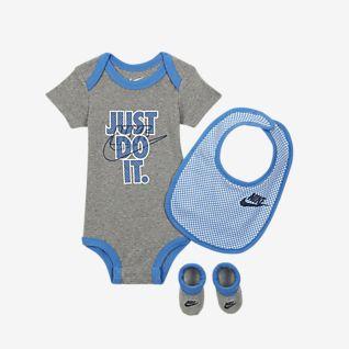 Nike Baby (12-24M) Bodysuit, Bib and Booties Box Set