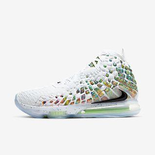 White LeBron James Shoes. Nike.com