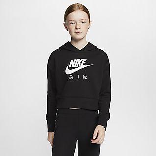 Nike Air Zkrácená mikina skapucí zfrancouzského froté pro větší děti (dívky)