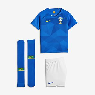 2018 Brasil CBF Stadium Away Tenue de football pour Jeune enfant