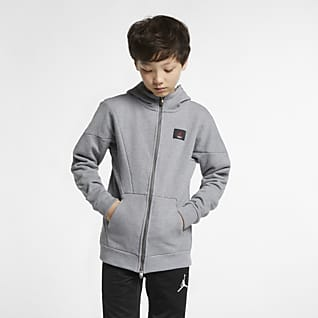 Jordan Flight Lite Mikina s kapucí a dlouhým zipem pro větší děti (chlapce)