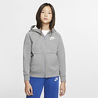 Nike Sportswear hettegenser med hel glidelås til jente