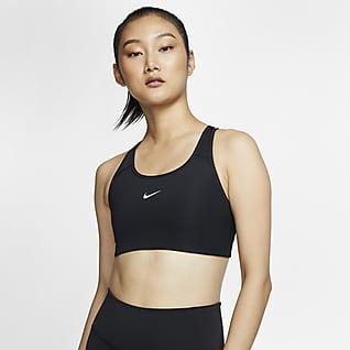 Nike Dri-FIT Swoosh Sport-bh met medium ondersteuning en pad uit één stuk