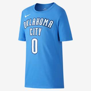 Nike Icon NBA Thunder (Westbrook) T-shirt do koszykówki dla dużych dzieci (chłopców)
