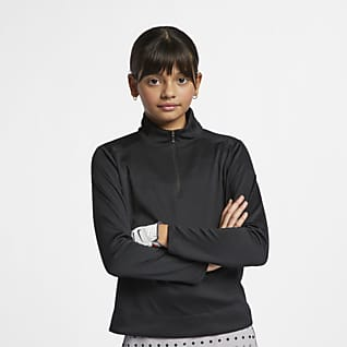 Nike Dri-FIT Big Kids' (Girls') Long-Sleeve 1/4-Zip Golf Top