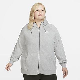Nike Sportswear Essential (Plus size) Felpa con cappuccio e zip a tutta lunghezza - Donna