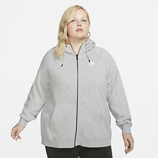 Nike Sportswear Essential (Büyük Beden) Tam Boy Fermuarlı Kapüşonlu Kadın Üstü
