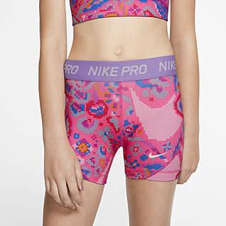 Nike Pro Короткие шорты с принтом для девочек школьного возраста