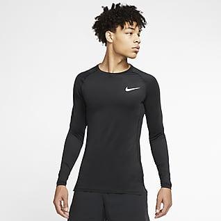 Nike Pro Langærmet overdel med tætsiddende pasform til mænd