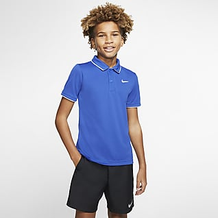 NikeCourt Dri-FIT Tennispikétröja för ungdom (killar)