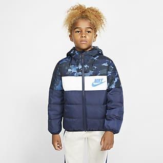 Nike Sportswear Chamarra acolchada con cierre completo para niños talla pequeña