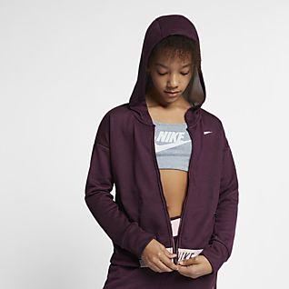 Nike Sudadera con capucha de entrenamiento de cierre completo para niña talla grande