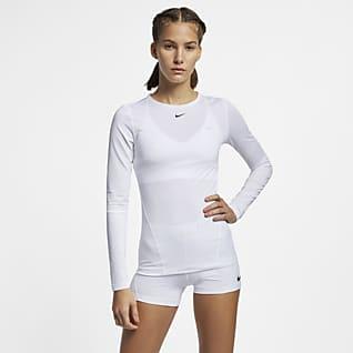 Nike Pro Mesh-Oberteil mit langen Ärmeln für Damen