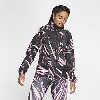 Nike Shield Damen-Laufjacke mit durchgehendem Reißverschluss