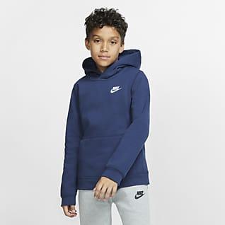 Nike Sportswear Club Sudadera con gorro sin cierre para niños talla grande