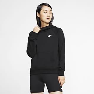 Nike Sportswear Essential Γυναικεία φλις μπλούζα με κουκούλα και ψηλό, φαρδύ γιακά
