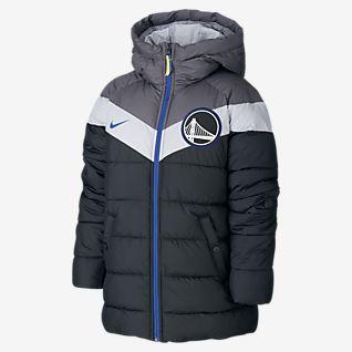 Warriors Nike NBA-Puffer-Jacke für ältere Kinder