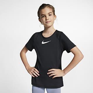 Nike Pro Overdel med korte ærmer til store børn (piger)