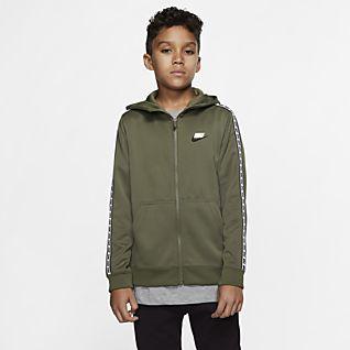 Nike Sportswear Sudadera con capucha de cierre completo para niños talla grande
