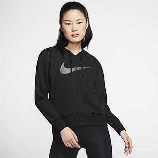 Nike Dri-FIT Get Fit Γυναικεία μπλούζα προπόνησης με κουκούλα και φερμουάρ σε όλο το μήκος