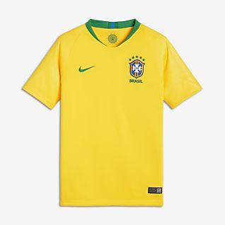 2018 Brasil CBF Stadium Home Maillot de football pour Enfant plus âgé