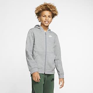 Nike Sportswear Club Hosszú cipzáras, kapucnis pulóver nagyobb gyerekeknek