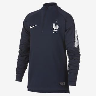 FFF Dri-FIT Squad Drill Koszulka piłkarska z długim rękawem dla dużych dzieci