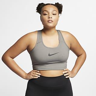 Nike Swoosh Dámská sportovní podprsenka bez vycpávek se střední oporou (větší velikost)