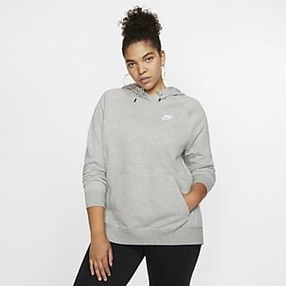 Nike Sportswear Essential Sudadera con capucha sin cierre de tejido Fleece para mujer (talla grande)