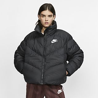 Damen Schwarz Steppjacken. Nike DE