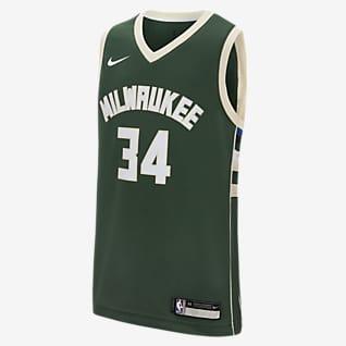 Icon Edition Swingman Jersey (Milwaukee Bucks) Nike NBA-trøje til store børn