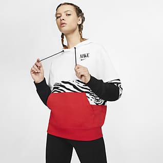 Nike Sportswear Essential Felpa pullover in French Terry con cappuccio e grafica - Donna