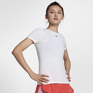 Nike Pro Camiseta de entrenamiento de manga corta con malla para mujer