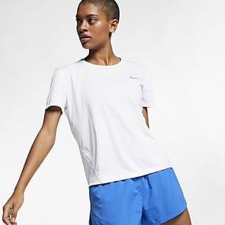 Nike Miler Løbeoverdel med korte ærmer til kvinder