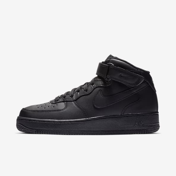 Black Air Force 1 Mid Top Shoes. Nike.com