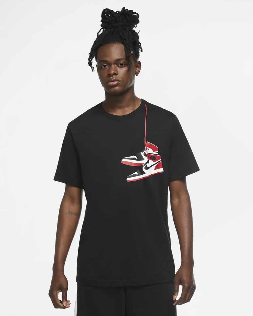 조던 AJ1 크루 반팔 티셔츠 CZ0432-010 Nike Jordan AJ1 Shoe Men's Crew,Black