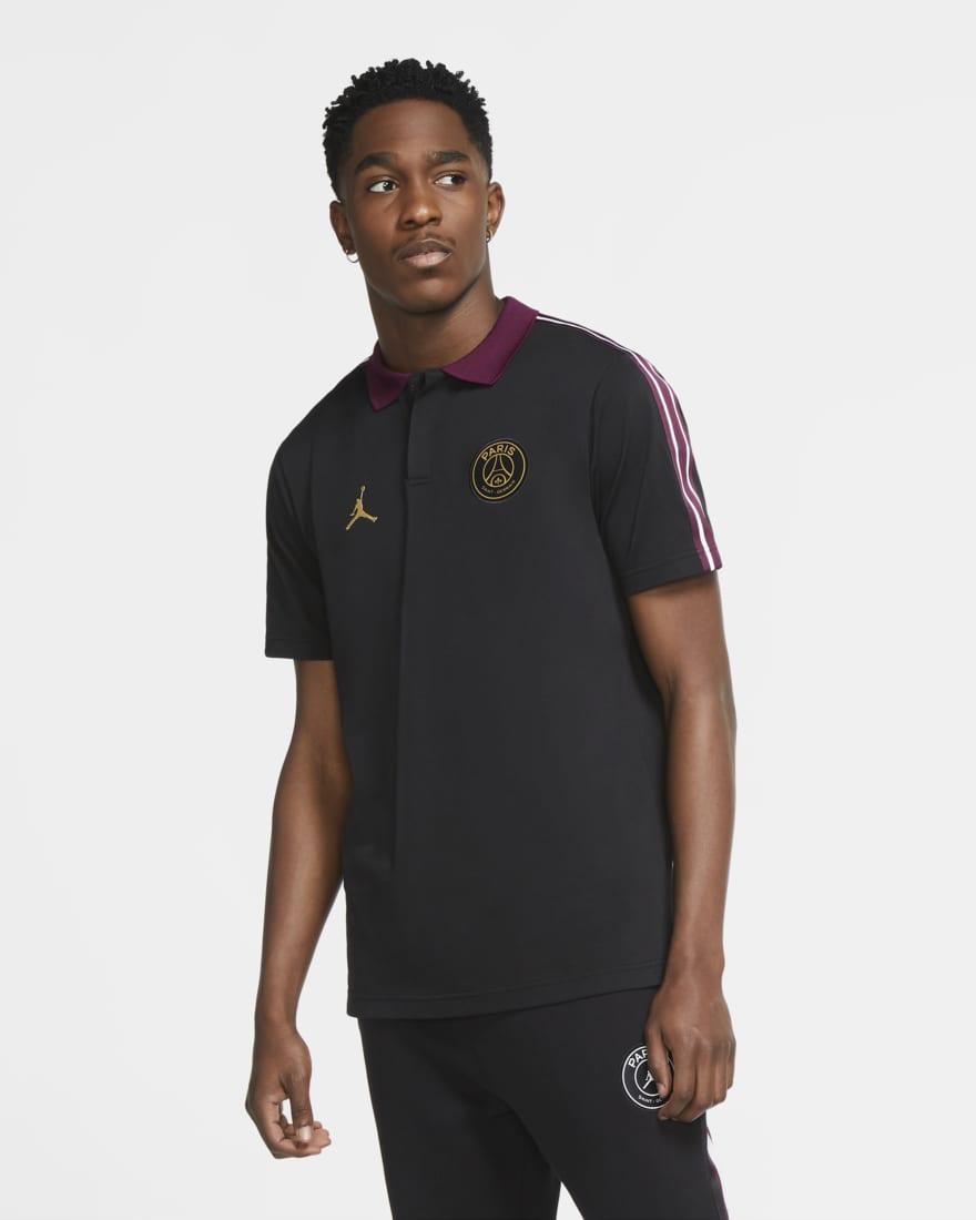 조던 X PSG(파리생제르망) 폴로 티셔츠 CV9902-010 Nike Paris Saint-Germain,Black/Bordeaux/Metallic Gold