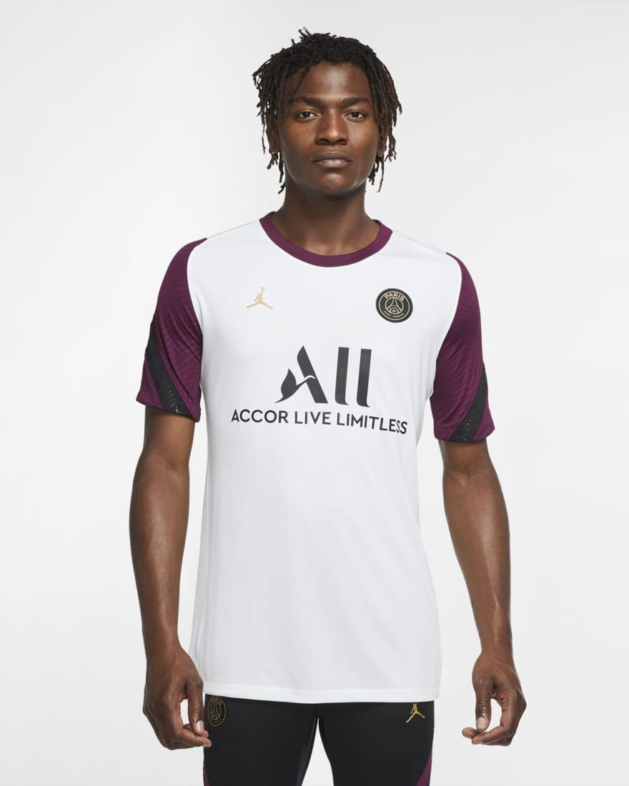 조던 X PSG(파리생제르망) 반팔 티셔츠 CK9621-100 Nike Paris Saint-Germain Strike Short-Sleeve Soccer Top,White/Bordeaux/Black/Truly Gold