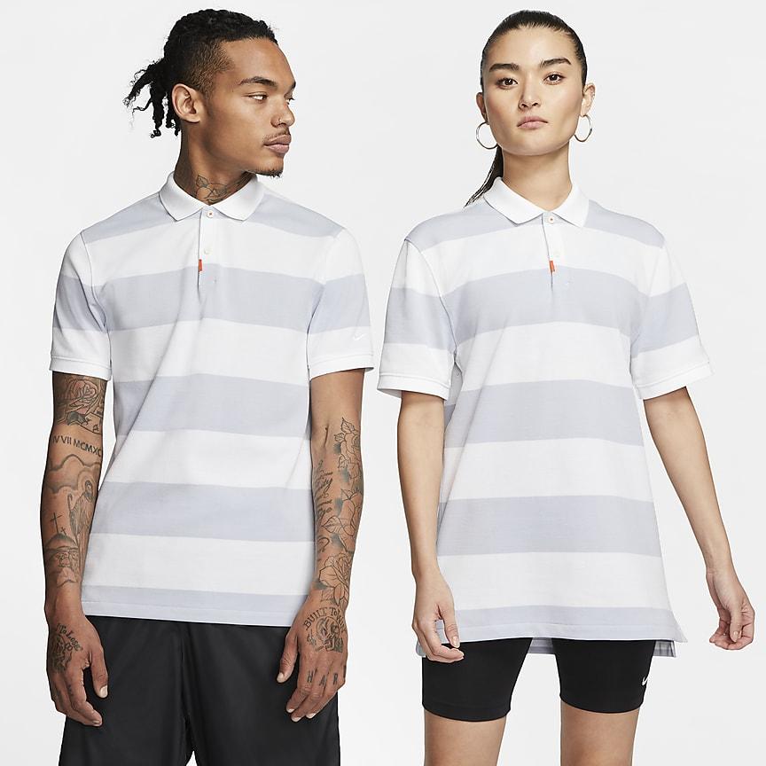 Dopasowana koszulka polo w paski uniseks