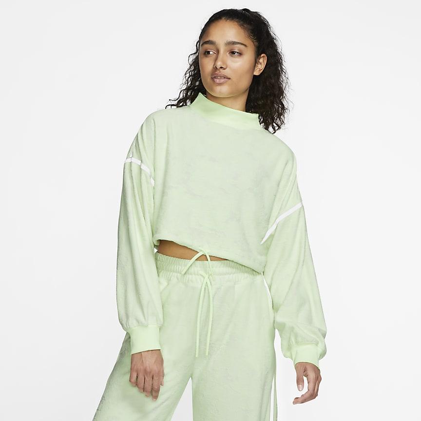 Sudadera de entrenamiento de tejido Fleece corta para mujer