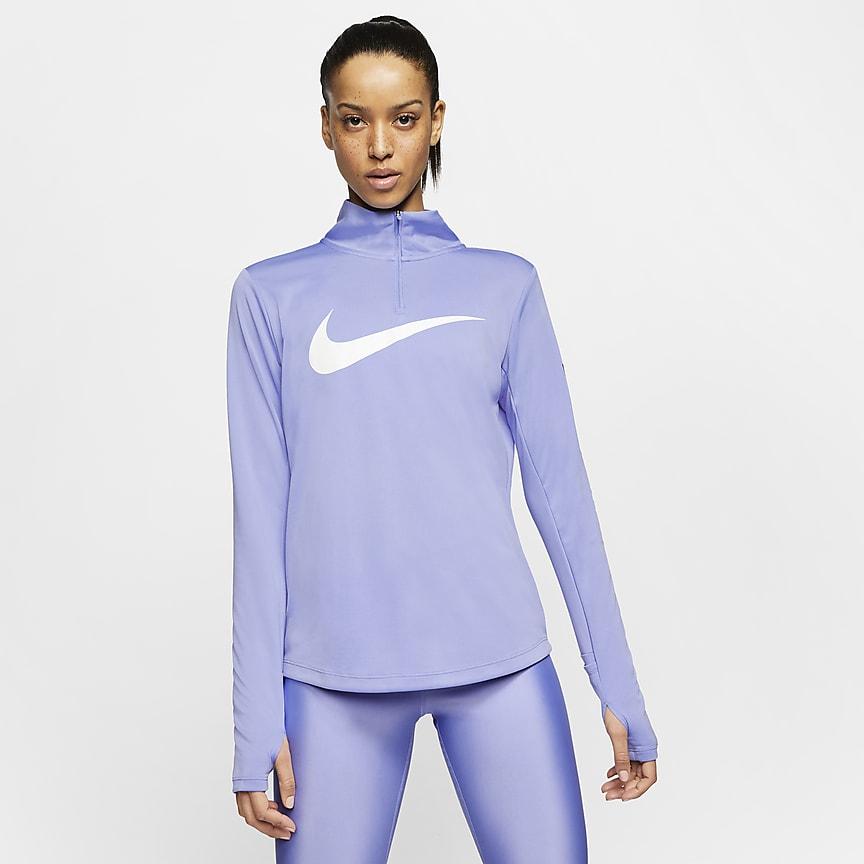 Camisola de running com fecho a 1/4 para mulher