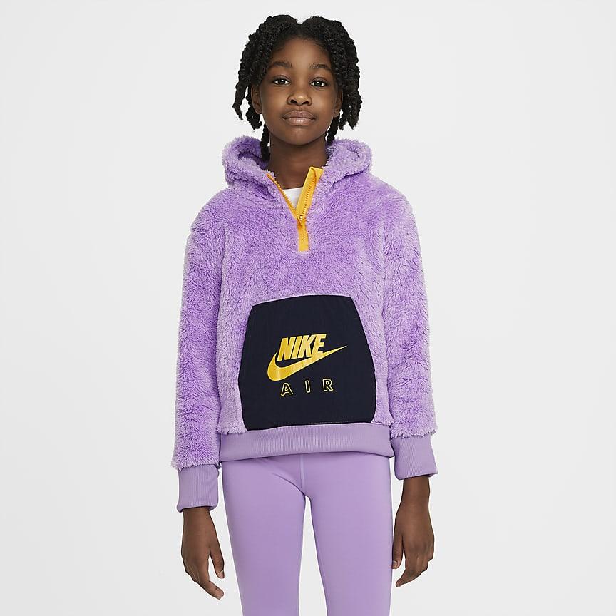 Bluza z kapturem z dzianiny typu baranek dla dużych dzieci (dziewcząt)