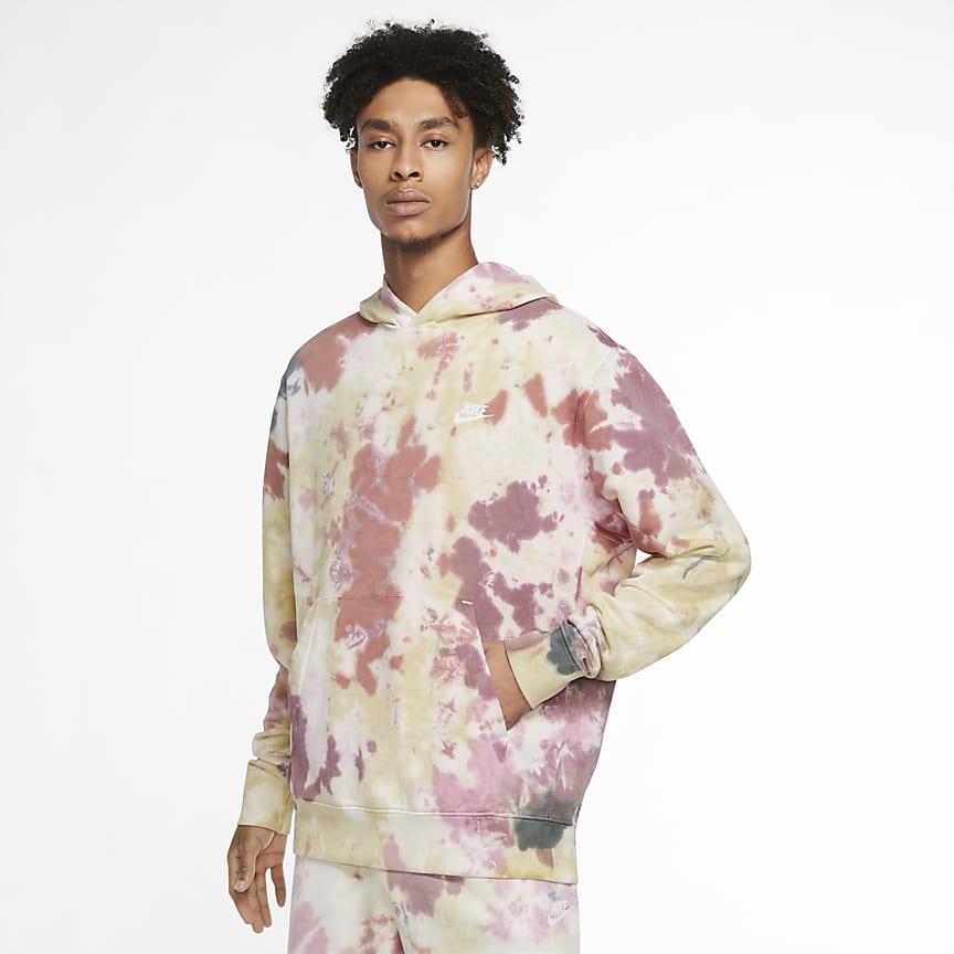 Felpa pullover tie-dye con cappuccio - Uomo