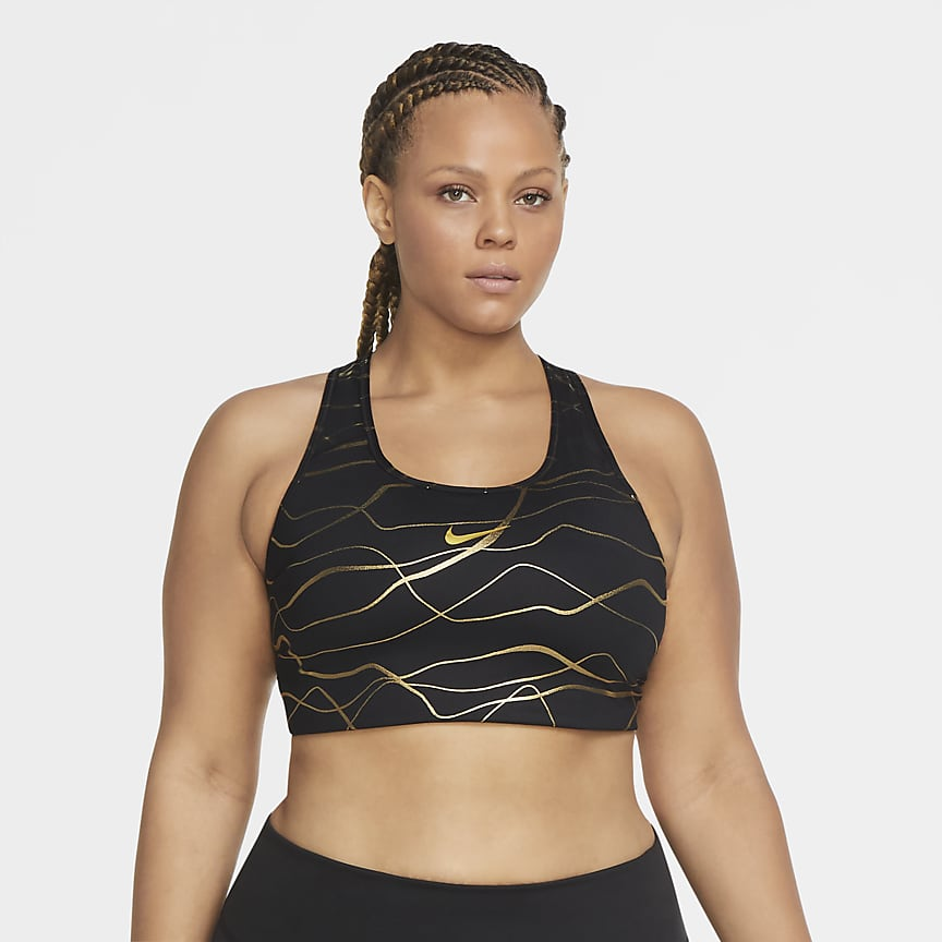 Women's Medium-Support Non-Padded Printed Sports Bra (Plus Size)