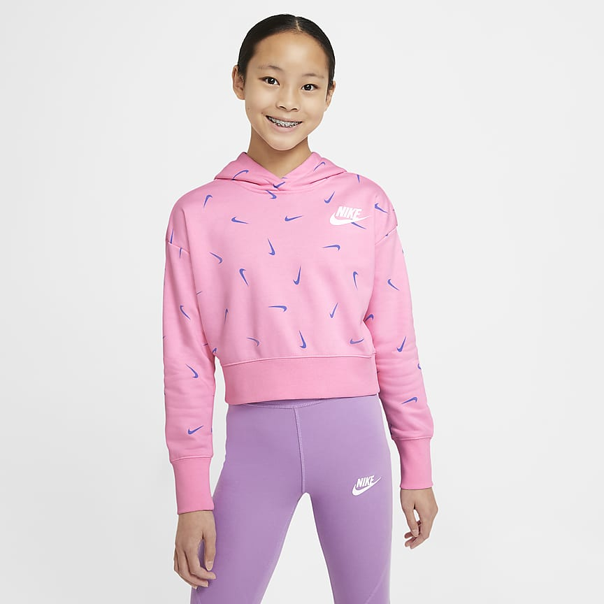Older Kids' (Girls') Cropped Pullover French Terry Hoodie