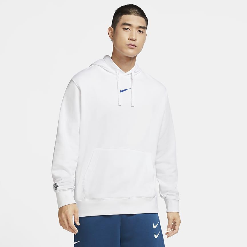 Pullover-hættetrøje i frotté til mænd