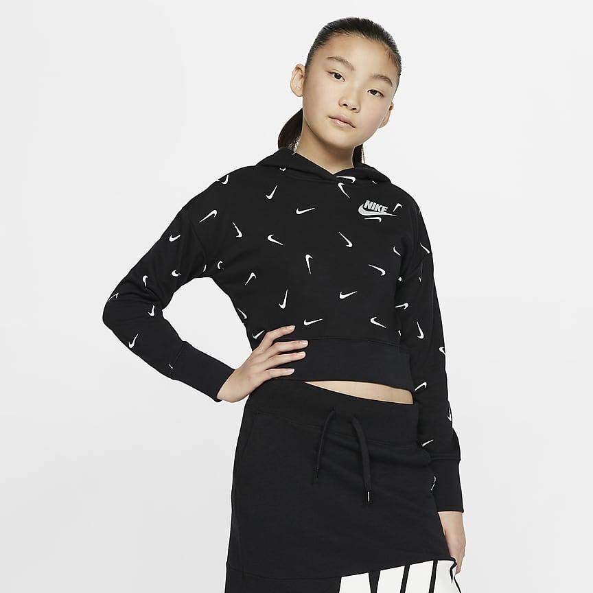 Kort pullover-hættetrøje i french terry til store børn (piger)