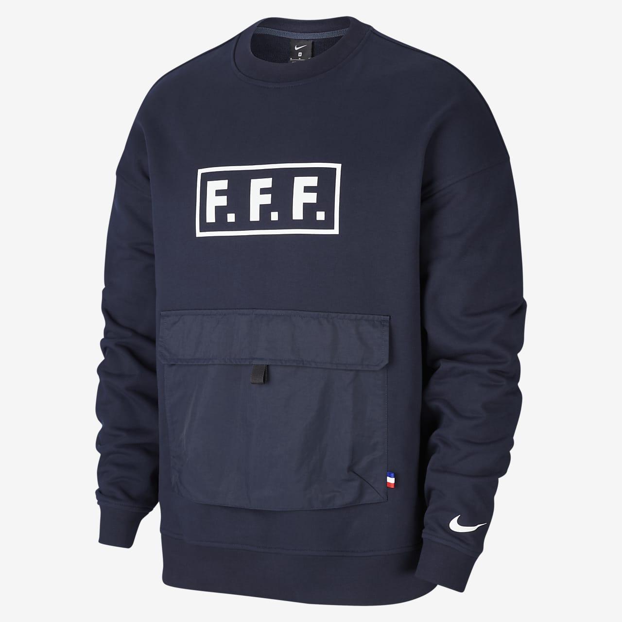 Långärmad fotbollströja i fleece med rund hals FFF